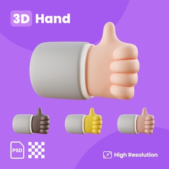전면 왼쪽 엄지손가락을 보여주는 손으로 3d 컬렉션