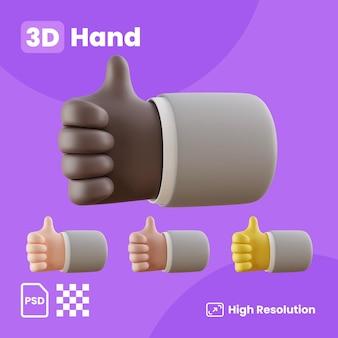 전면 오른쪽 엄지손가락을 보여주는 손으로 3d 컬렉션