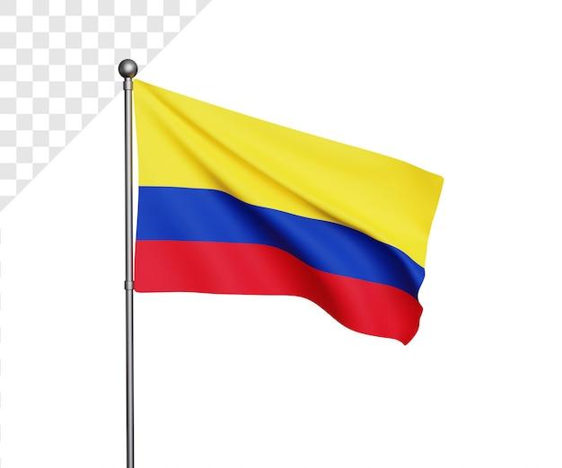 3d иллюстрация флаг колумбии Premium Psd