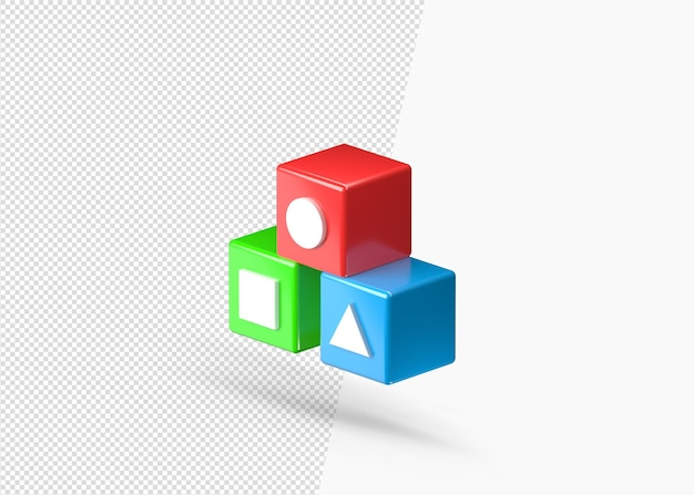 3d 다채로운 알파벳 학습 장난감 렌더링