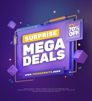 Banner di promozione vendita sconto colorato 3d 3
