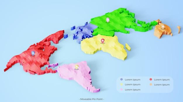 3d красочная карта с подвижной точкой
