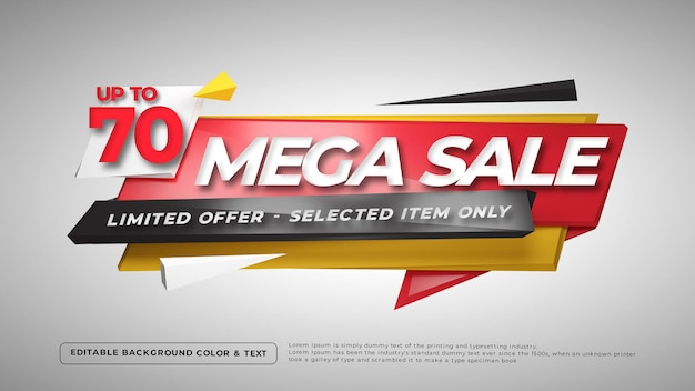 3d colorful mega sale badge