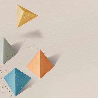 3d красочный бумажный пентаэдр с рисунком фона