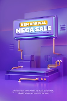 3d colorful purple product display podium