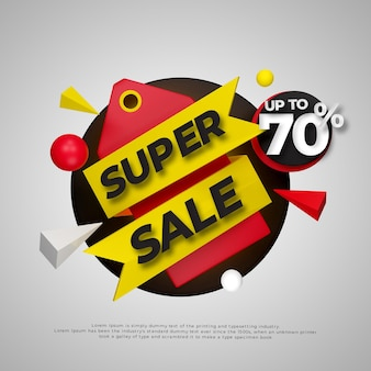 3d colorful super sale badge