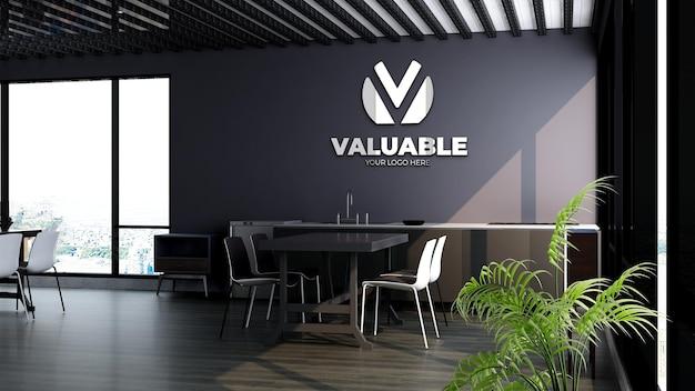 현대적인 사무실 식료품 저장실 또는 주방 공간에서 3d 회사 로고 브랜딩 모형