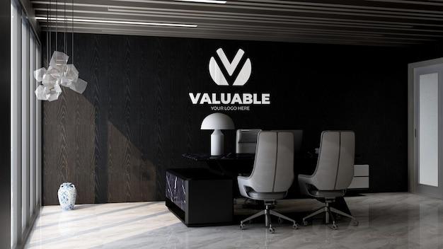 우아한 인테리어 디자인을 갖춘 현대적인 사무실 관리자실의 3d 회사 로고 모형