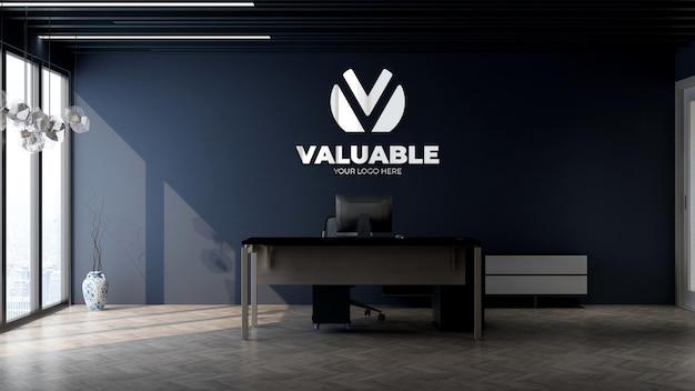 3d макет логотипа компании в офисе, комната управления бизнесом