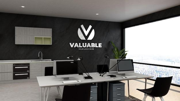3d макет логотипа компании в офисном бизнес-пространстве или на рабочем месте