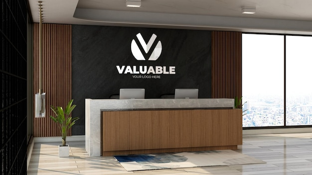 사무실 프론트 데스크 또는 나무 테마 디자인 인테리어가 있는 접수실의 3d 회사 로고 모형