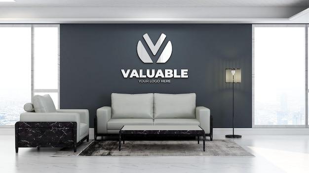 3d макет логотипа компании в зале ожидания офиса