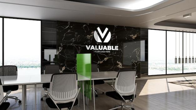 3d макет логотипа компании в офисной рабочей зоне с роскошным дизайнерским интерьером
