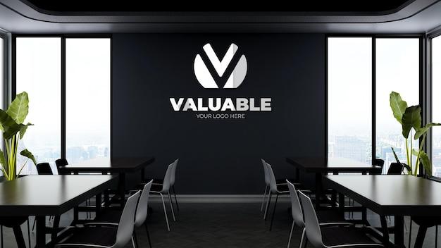 3d макет логотипа компании в современной офисной кладовой или на кухне