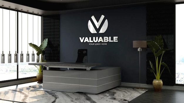 현대적인 리셉션 또는 프런트 데스크 룸에서 3d 회사 로고 모형
