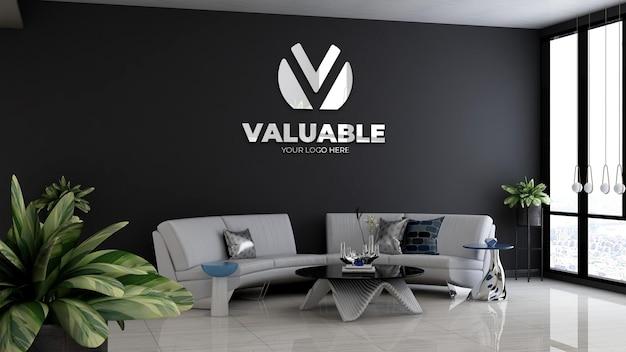 3d макет логотипа компании в холле офиса в зале ожидания с диваном и минималистским дизайном