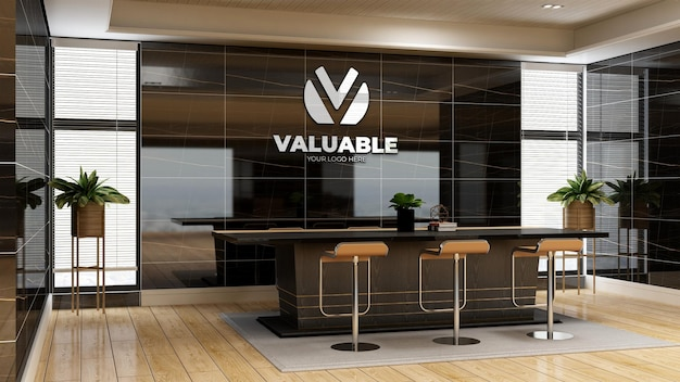 3d макет логотипа компании в офисе для встреч с роскошным дизайнерским интерьером