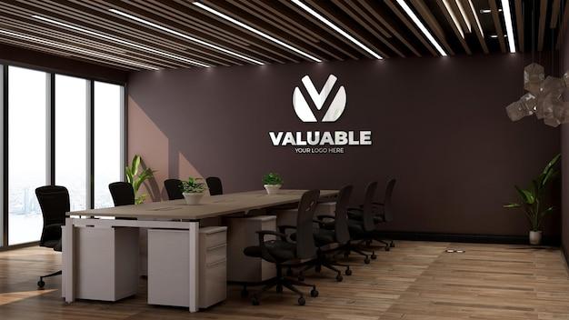 3d макет логотипа компании в офисе, конференц-зале