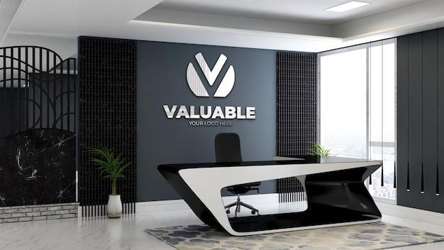 사무실 리셉션 데스크에서 3d 회사 로고 모형