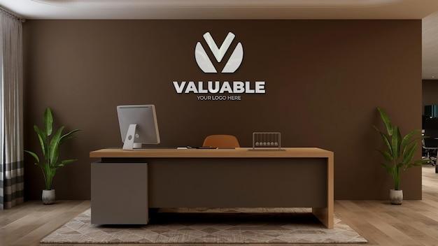 사무실 리셉션 또는 프론트 데스크 룸에서 3d 회사 로고 모형