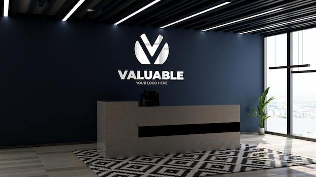 사무실 접수 데스크에서 3d 회사 로고 모형