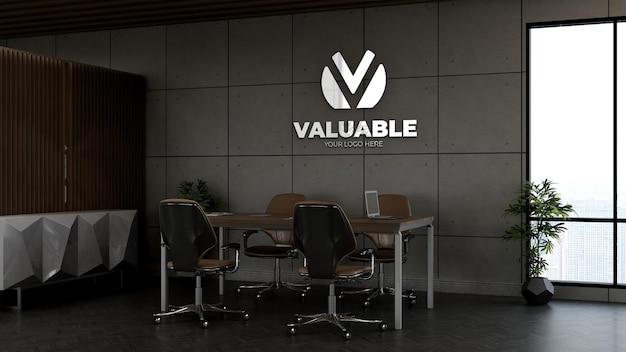 3d макет логотипа компании в офисе небольшого конференц-зала с интерьером промышленного дизайна