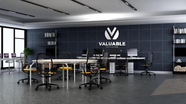 사무실 작업 영역에서 3d 회사 로고 모형