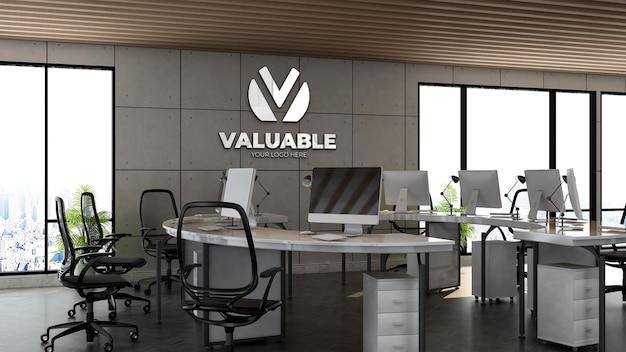 산업 디자인 인테리어가 있는 사무실 작업 공간의 3d 회사 로고 모형