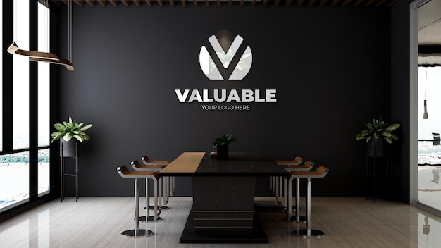 3d макет логотипа компании в деревянном тематическом интерьере конференц-зала