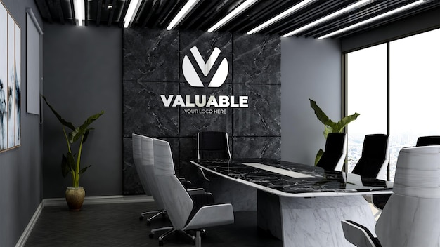 3d company logo mockup in the luxury office meeting room