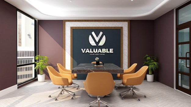 3d company logo mockup in the luxury office meeting space room