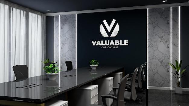 3d company logo mockup in modern black office meeting room