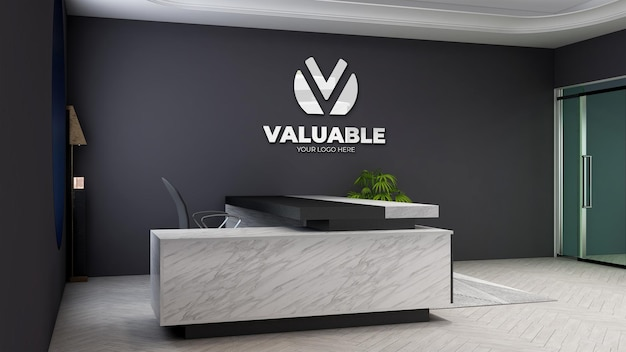 3d company logo mockup in the modern office manager room