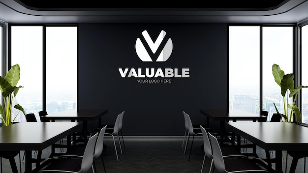 3d company logo mockup in the modern office pantry or kitchen roo