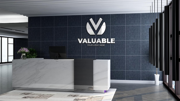3d company logo mockup in the modern reception or front desk room