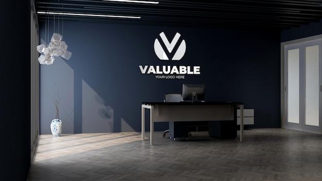 3d company logo mockup in office business manage room
