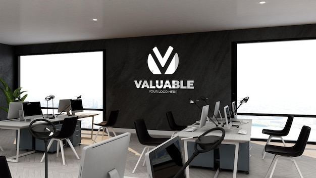 3d company logo mockup in office business workspace or workplace