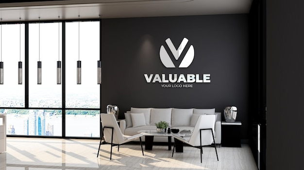 3d company logo mockup in the office lobby waiting room with sofa and minimalist design