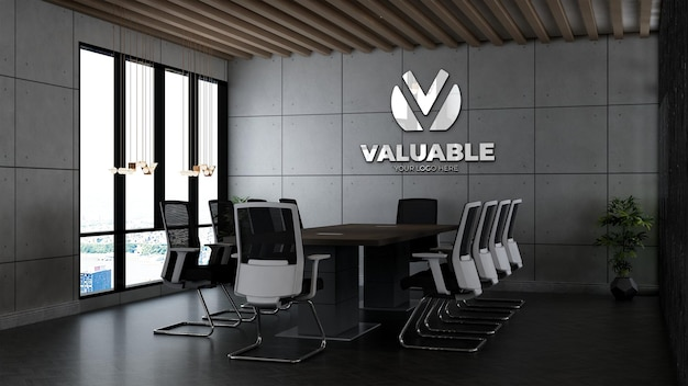 3d company logo mockup in the office meeting room with industrial design interior