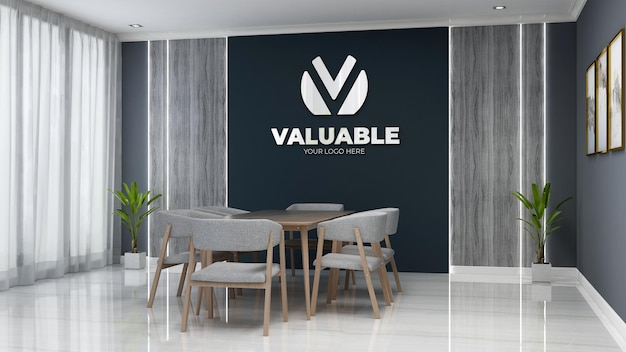 3d company logo mockup in the office meeting space with wooden desk and chair