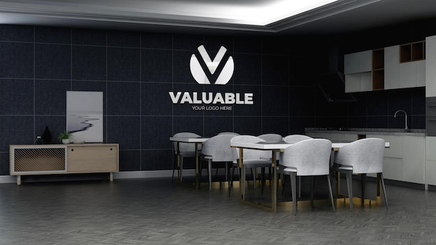 3d company logo mockup in the office pantry area