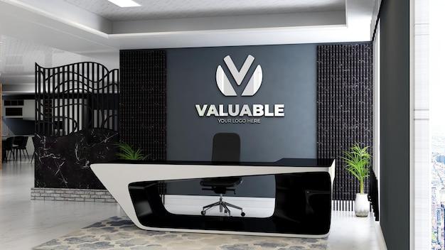 3d company logo mockup in the office reception desk roo