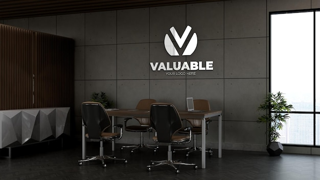 3d company logo mockup in the office small meeting space with industrial design interior