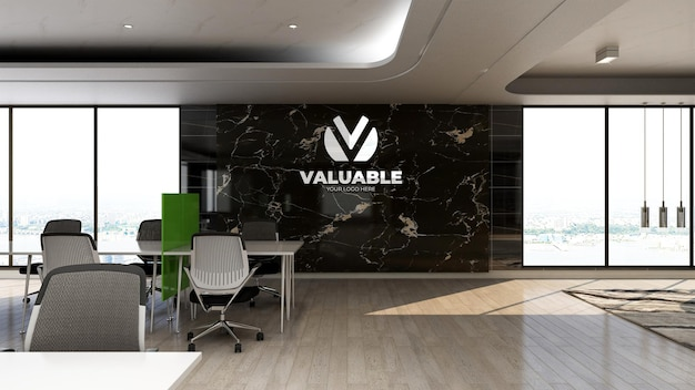3d company logo mockup in office work area with luxury design interior
