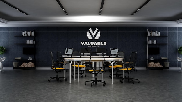 3d company logo mockup in the office workspace area