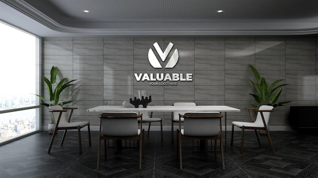 3d company logo mockup in stone wall office meeting room