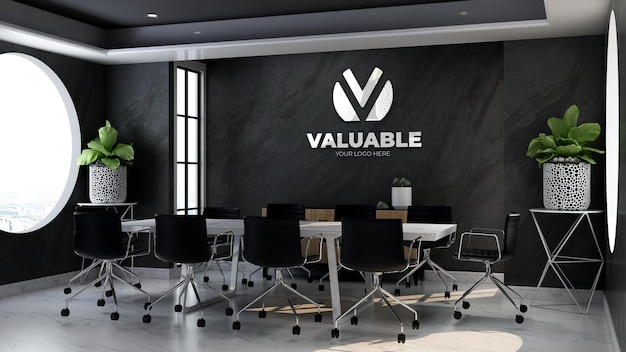 3d company logo mockup in theoffice meeting room with black stone wall