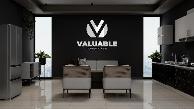 3d company logo mockup in the wooden office lobby waiting room with sofa
