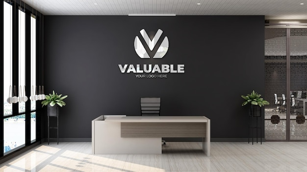 3d company logo mockup in the wooden office reception room