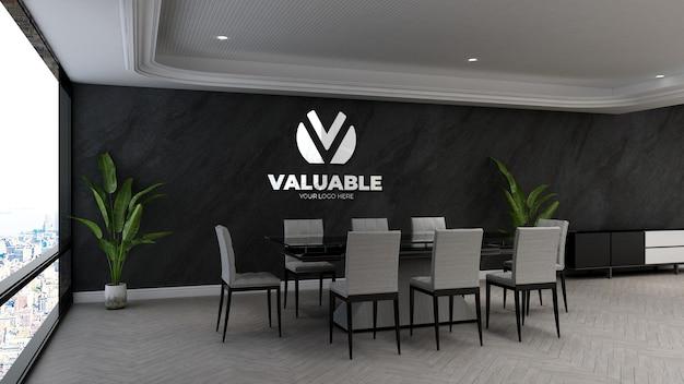 3d макет логотипа компании на стене в офисе на деловой встрече roo
